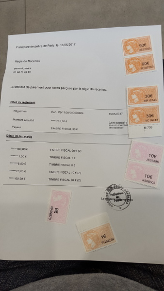 Achat Timbre Fiscal 269 Euros Carte De Sejour Carte