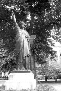 Copy of the Statue of Liberty in the Luxembourg Gardens in Paris.