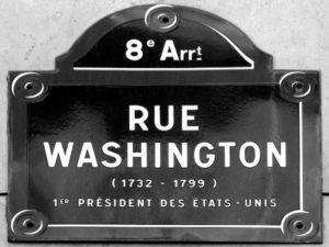 Sign for rue Washington