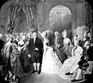 This image was obtained at the US National Archives. Their caption: Benjamin Franklin at the Court of France. Painting by Hobens. 66-G-I5B-5.