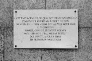 [Plaque commemorating Robert Fulton's steamboat tests.]